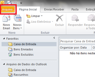 como configurar email office 2010 - outlook 2010 - POP - Passo 1