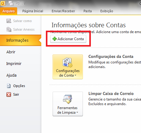 Como configurar email office 2010 - outlook 2010 - POP - Passo 2