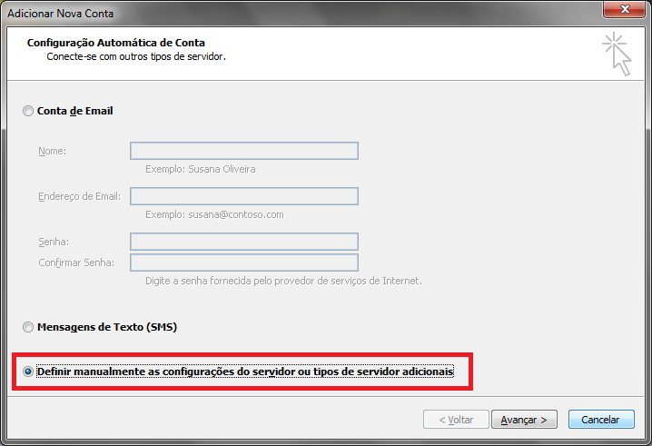 Como configurar email office 2010 - outlook 2010 - POP - Passo 3